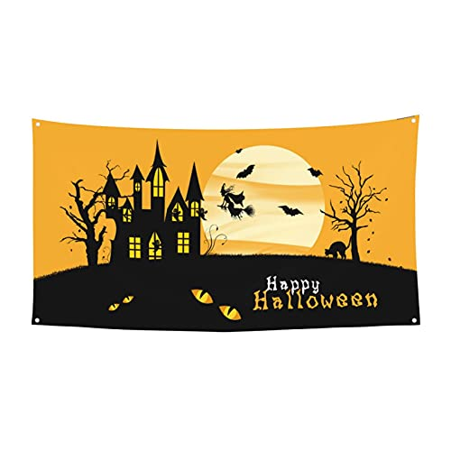 Axige888 Papel pintado de escritorio Feliz Halloween Feliz Cumpleaños Halloween Fondo Fiesta de Fondo Foto Cabina Banner Decoración 180X90 Cm