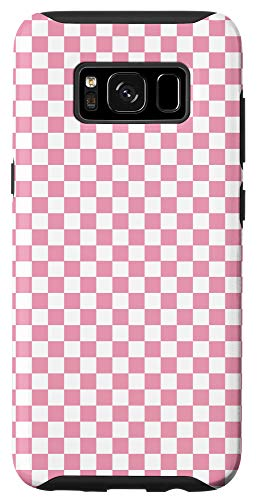 Galaxy S8 Pink Checkered Checkerboard Pattern Phone Case