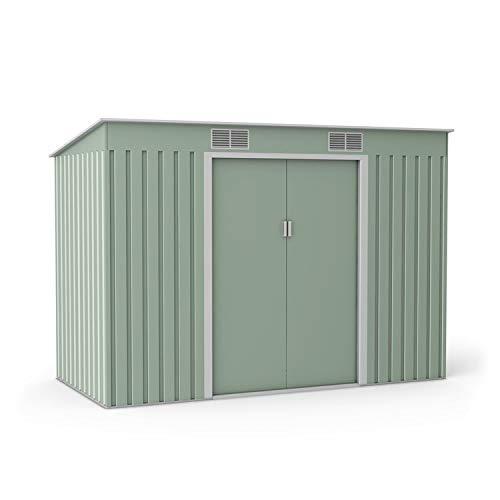 BillyOh Cargo Pent Metal Shed with Foundation Kit, Hot-Dipped Galvanised Metal Garden Storage (9x4)