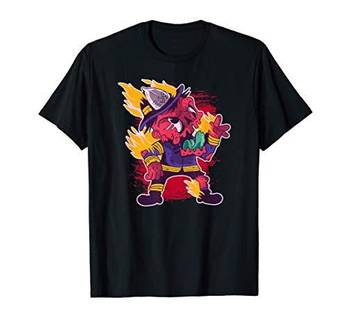 Happy Halloween Zombie Firefighter Fireman Costume T-Shirt