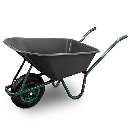 BITUXX Schubkarre 100L Schubkarren Schiebkarre Bauschubkarre mit PVC Wanne und Luftreifen bis 250kg (Schubkarre mit PVC Mulde Schwarz)