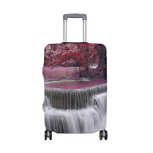 MONTOJ Wasserfall-Tapete mit roten Blättern, Koffer-Abdeckung