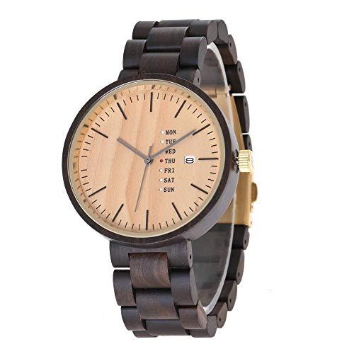 Männer hölzerne Uhr, personifizierter analoger Quarz-Tag und Datumsanzeige, Naturallergiker und sicher.