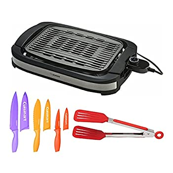 Zojirushi EB-DLC10 Indoor Electric Grill with 8-Inch Nylon Flipper Tongs and 6-Piece Nonstick Color Chef Knife Set Bundle  3 Items