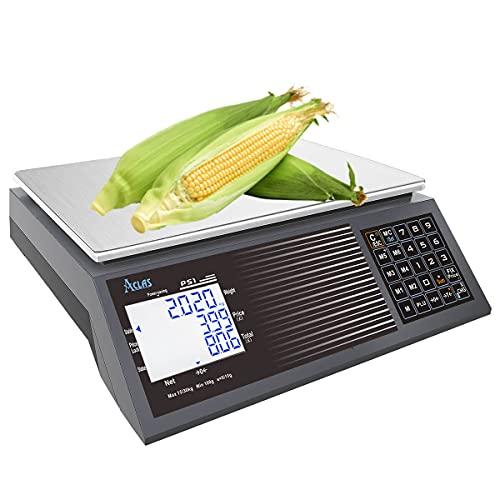 ACLAS Escala de cálculo digital de precios 30 kg 2 g - Escala de mesa de pesaje industrial con pantalla LCD de doble pantalla para alimentos, carne, delicatessen, mercado de frutas