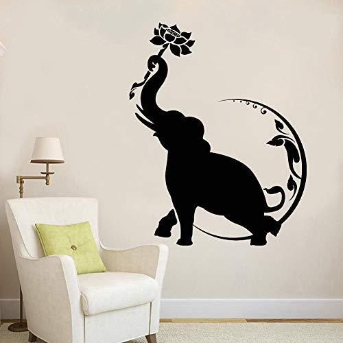 Fotobehang olifant lotus lotus maan Boeddhistische vinyl art stickers woondecoratie woonkamer verwijderbare slaapkamer muurschildering 50.4x63.6cm