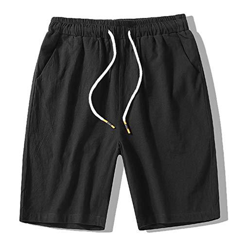 Feidaeu Pantalon décontracté pour Hommes à séchage Rapide Respirant Short en Coton Confortable et Respirant Taille élastiquée Shorts d'été