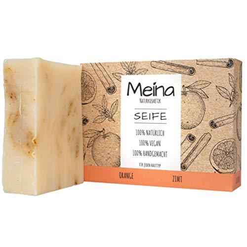 Meina Naturkosmetik - Naturseife, Bio Seife mit Orange und Zimt ohne Palmöl, Vegan, Handgemacht (1 x 100 g)