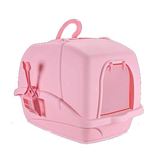 HAI RONG Clean Litter Box Pet toilet single layer fully enclosed cat litter box anti-splashing deodorant pet potty supplies Premium Indoor Pet Crate (Color : PINK)