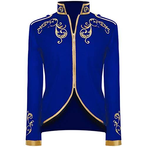 AmyGline Herren Gothic Jacke Blazer Mantel Vintage Palast Viktorianischer Uniform Anzugjacke Gehrock Party Cosplay Kostüm Punk Kleidung Männer Langarm