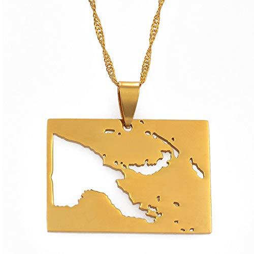 Papua Nueva Guinea Mapa del País Collares Pendientes Joyería De Color Dorado Mapas Patrióticos PNG Regalo 60Cm