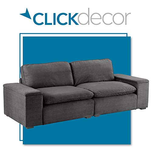 Click Décor Symphony Mid-Century Microfiber Upholstered Modular Sofa Collection, Reversible Cloud Pillow Soft Seat Cushions, Storage, Charcoal