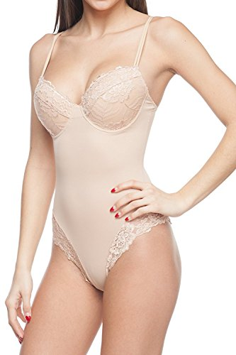 Body Beautiful Smooth and Silky Bodysuit Shaper with Built-in Wire Bra and Sexy Lace Trims (Nude, S/34B)