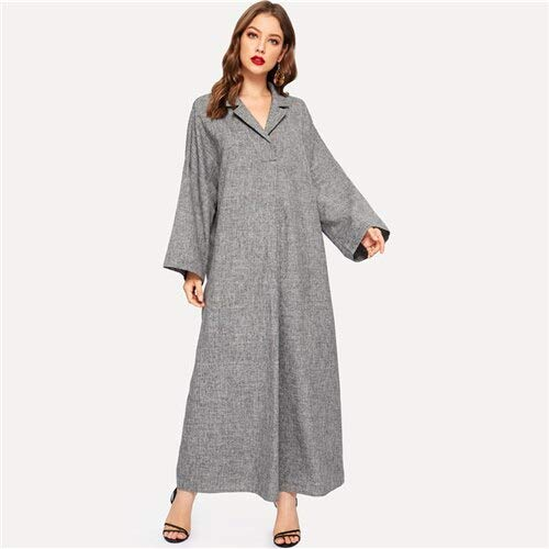 GMZA grijze gekerfde kraag-tuniek met V-hals, stevige, lange jurk, vrouwen, lente lange mouwen, vintage maxi-jurken