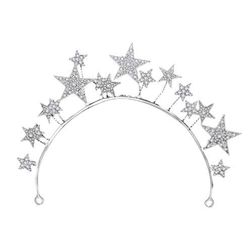 Minkissy Diadema de Diamantes de Imitación Nupcial Aleación Corona de Estrella Tiara de Cristal Aro de Pelo Broche para Boda Compromiso Despedida de Soltera (Plata)