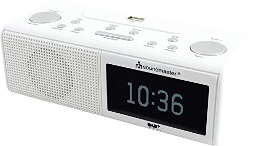 Soundmaster UR8350WE DAB+ UKW Radiowecker Dualalarm USB Snooze- Sleepfunktion Kopfhöhreranschluss