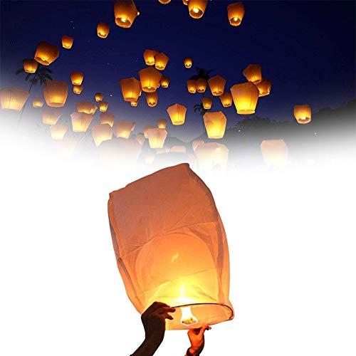 ZHKXBG Lanternes Volantes Chinoises Sky Blanc 10 pièces, Bambou, Lanternes Blanches Chinoise Celestes Volantes Biodégradable pour Fêtes, Moments Romantiques et Magiques,Blanc