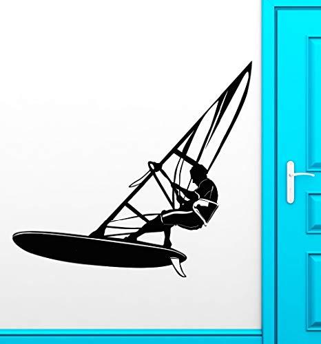 Pegatinas de pared para el aula, windsurf Deportes extremos Agua fresca Cocina Baños Baño Fondo romántico Niños Niños Arte Sala de estar Refrigerador Adorno Calcomanías 57x63cm