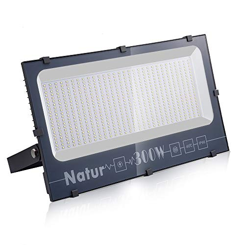 NATUR Faretto 300W Fari LED per Esterno 30000LM Proiettore Moda Leggero, Faro Impermeabile IP66 per Giardino Cortile, Lampada Luce Potente Super Luminosa 3000K Bianco Caldo[Classe Energetica A++]