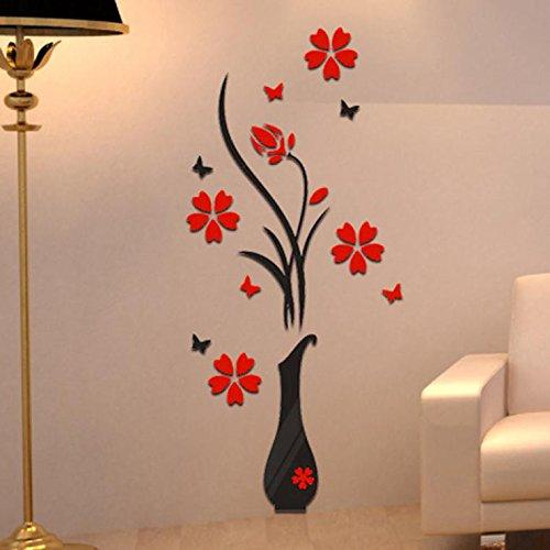 Topgrowth Wall Sticker Adesivi da Parete DIY Vaso Fiore Albero Cristallo Adesivi Murali 3D Home Decor