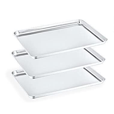 "P&P Chef Baking Sheets Set of 3, Stainless Steel Baking Pans Tray Cookie Sheet, Rectangle 16"" x 12"" x 1"", Healthy & Non Toxic, Mirror Finish & Easy Clean - Dishwasher Safe"