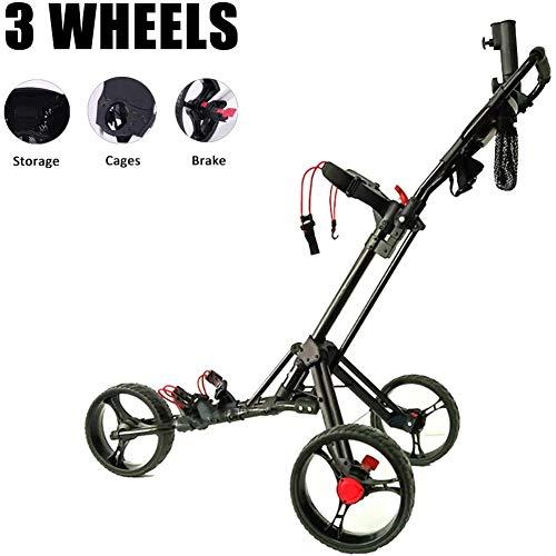 Golftrolley Lichtgewicht 3-wiel opvouwbare golftrolley met voorwiel, paraplubak, scorecard bekerhouder Een seconde te openen en te sluiten