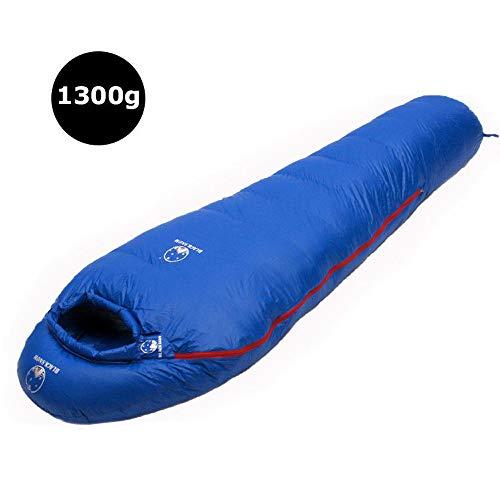 3-4-Jahreszeiten-Mumienschlafsäcke, leichter und wasserdichter Gänsedaunenschlafsack mit Kompressionssack, für Erwachsene und Kinder, Outdoor-Camping, Wandern, Rucksacktouren, Reisen,Blue-1300g