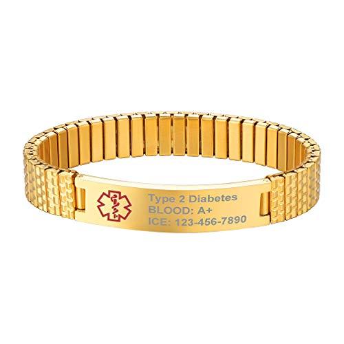 Supcare Medizinische Erste Hilfe ID Edelsathl Stretch Wristband, Personalisierte Gravierbare Stretch Edelstahl Notfall Armband, Medical Emergency Bracelet Stretch Armband für Herrn/Damen/Kindern
