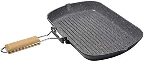 ALBERTO GRILL PAN W/FOLDABLE HANDLE L:34*W:24*H:4 CM BLACK COLOR