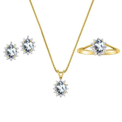 Marzo Birthstone Set–anillo, pendientes y collar–Aguamarina en 14K oro amarillo o 14K oro blanco