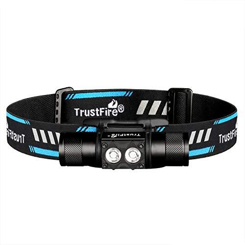 TrustFire H5R - Linterna frontal con una luminosidad máxima de 600 lúmenes con 2 ledes, diseño de proyector de 150°, batería 18650 y recargable por micro USB (con cinta)