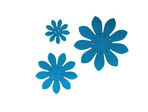 Petra S Kit Creativo News a vif4745F57Feltro Fiori Set, 3Diversi Fiori, 45Pezzi Feltro, Colore: Turchese