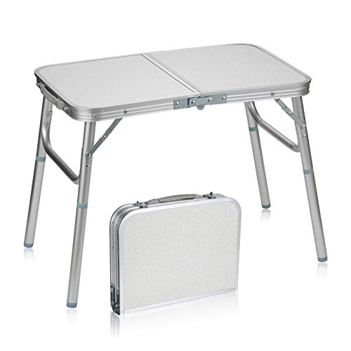 Folding Camping Table Portable - Lightweight Aluminum Foldable Picnic Table, 2 Adjustable Heights, Small Collapsible Dining Table for Indoor Outdoor Camp Beach Party BBQ
