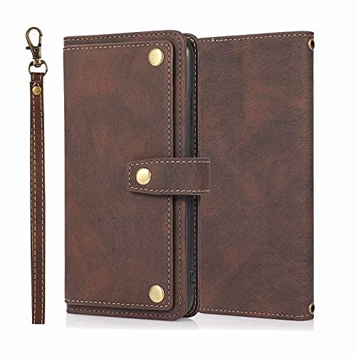 Miagon retrò Flip Cover per iPhone 6/6S,PU Pelle Custodia a Libro Elegante con 9 Slot Holder per Carta di Credito Case Kickstand,Bruno