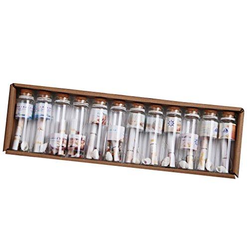 F Fityle 12pcs Botellas De Colgantes De Vidrio Transparente con Frascos De Tapón De Corcho Lotes Al por Mayor