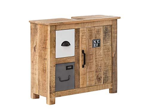 Woodkings® Waschbeckenunterschrank Pune Echtholz Mango Waschtischunterschrank massiv Badmöbel Badezimmer Badezimmerschrank Badschrank Bad Unterschrank Massivholz