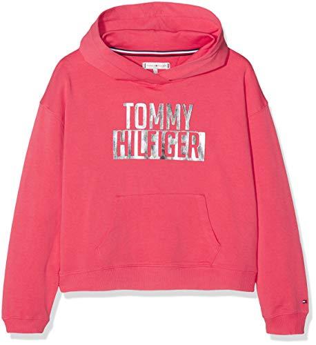 Tommy Hilfiger Tommy Hilfiger Mädchen Essential Logo Hoodie Kapuzenpullover, Rot (Teaberry 616), 92