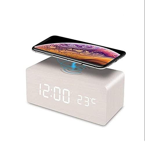 Reloj de alarma digital de pantalla LED, relojes de control de sonido de madera Altavoces inteligentes con carga inalámbrica Snooze Brillo ajustable para dormitorio de noche ancianos ( Color : White )