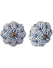 Nicola Spring Ceramic Cupboard ladeknoppen - Vintage Design Bloem - Dark Blue - Pack van 6