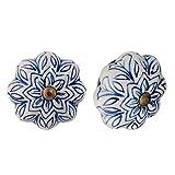 Nicola Spring, Pomelli in Ceramica, per Armadi/Cassetti, Design Floreale Vintage, Blu Scuro - Set da 12