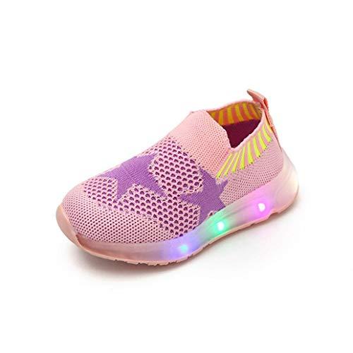 Chaussures Enfants, IMJONO Kid Girls Garçons Lumière LED Star Luminous Sport Engrener Student CASA (22 EU, Rose)