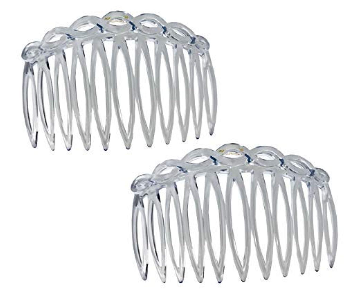 明日干渉類人猿Parcelona French Open Curved Twist Crystal Clear Set of 2 Celluloid Acetate 3 Inch Side Hair Combs [並行輸入品]