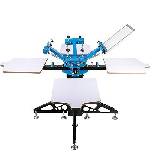 VEVOR 4 Color 4 Station Screen Printing Machine T-Shirt Printer Pressing Removable Pallet Screen Printing Kit for T-Shirt Printing