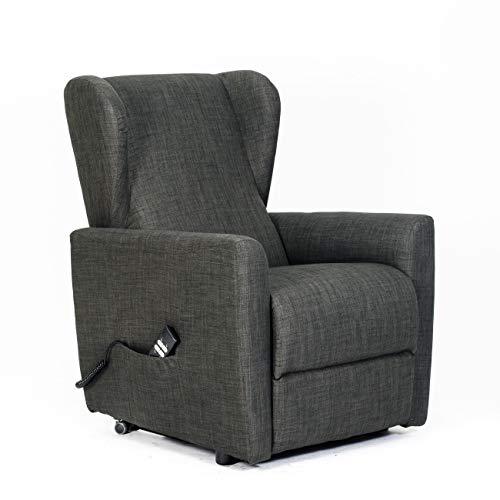 SIME - sillón reclinable eléctrico con 2 Motores Independientes Venta. Shed. Sillón Relax Tercera Edad no válidos Lulu-2M-TEDOV Gris Oscuro Tela CE médico