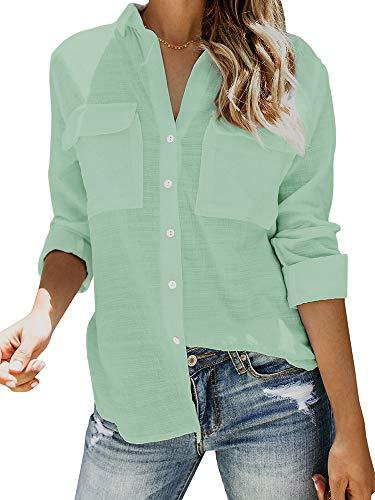 Damen Bluse Oversized Shirts V Ausschnitt Hemd Langarm Lose Schick Langarmshirt Sommer Tops Oberteil, Blassgrün, M