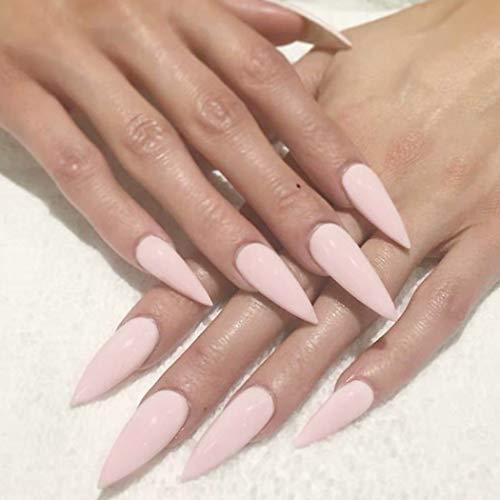 Fashband Pink Fake Nails Tipp Volle Abdeckung Acryl Täglicher Gebrauch Falsche Nägel Punk Fashion Party Clip auf Nägeln 24Stücke für Frauen und Mädchen