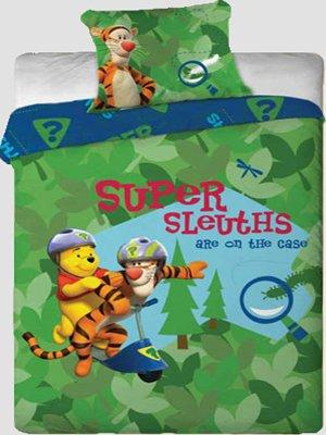DecoKing 160x200 cm zweiseitige Bettwäsche mit einem Kissenbezug 70x80 cm 100% Baumwolle Reißverschluss schönes Muster für Kinder Pu der Bär grün orange blau gelb rot Mehrfarbig
