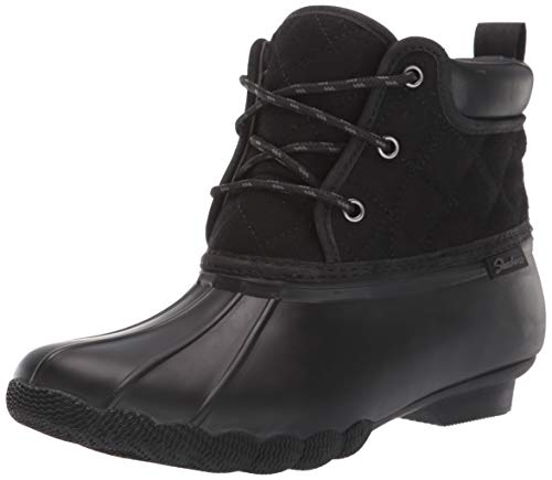 Skechers Women's Pond-Lil Puddles-Mid Quilted Lace Up Duck Boot with Waterproof Outsole Rain, Black/Black, 9 M US