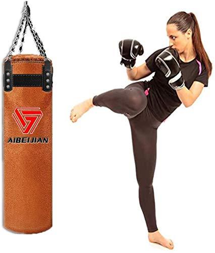 GYPPG Boxsack Boxsack Leder ungefüllte Übung MMA Boxen Boxen rotierende Ketten Muay Thai Kickbox Training für Erwachsene Männer Frauen-120cm