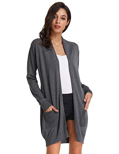 GRACE KARIN Damen Strickmantel Lang Sweater Langarm High Stretchy Casual Offene Strickjacke mit Taschen M Dunkelgrau CLAF1003-1
